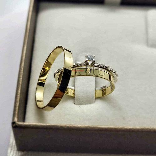 Par de Alianças de Casamento Quadrada com 2 mm de Largura Ouro 14K