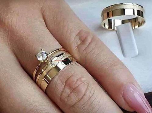 Par de Alianças de Casamento Ouro 14K - Anel Solitário