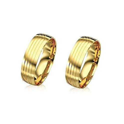 Par de Alianças Trabalhadas de casamento em Ouro 14K Anatômicas 7 mm