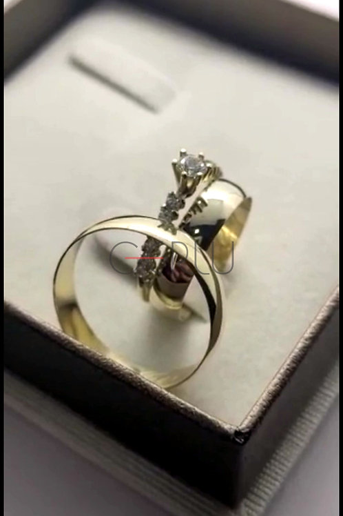 Par de Alianças de Casamento Tradicional Ouro 14K