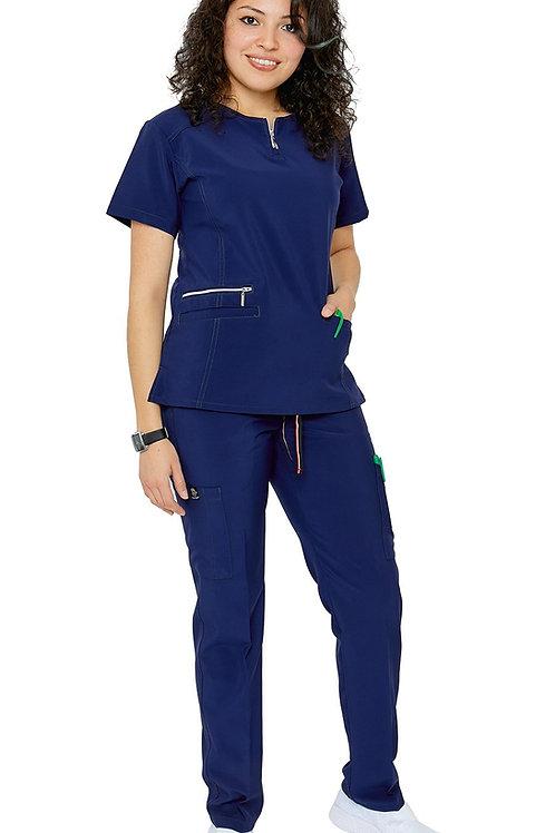 Women's Stretch Uniform Scrubs Set with Zipper (ST400)