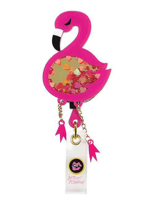 Betsey Johnson Flamingo Badge Reel Bling