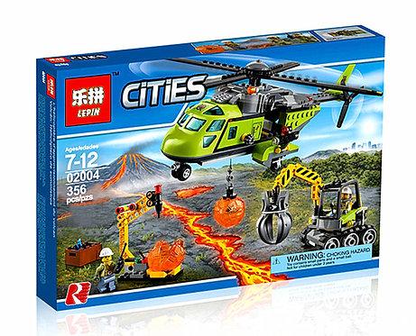 Коробка аналог Lego City Грузовой вертолет исследователей вулканов   60123   LEGOREPLICA