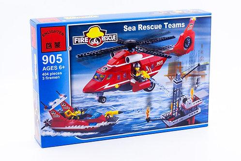 Коробка BRICK Fire Rescue Морская пожарная команда: вертолет и катер   IQREPLICA