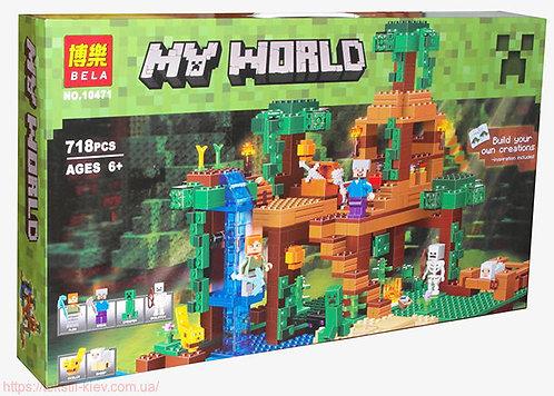 Коробка аналог Lego Minecraft Домик на дереве в джунглях | 21125 | LEGOREPLICA