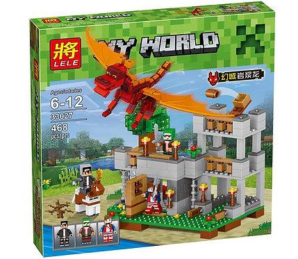 Коробка аналог Lego Minecraft Нападение Красного Дракона   LEGOREPLICA