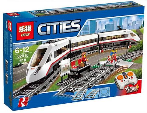 Коробка аналог Lego Train Скоростной пассажирский поезд   60051 и 7897   LEGOREPLICA
