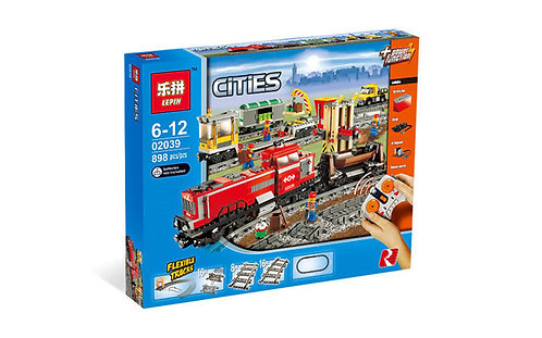 Коробка аналог Lego City Красный грузовой поезд | 3677 | LEGOREPLICA