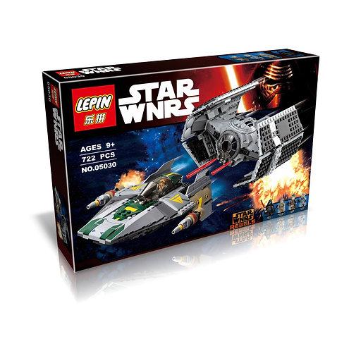 Коробка аналог Lego Star Wars Истребитель СИД Дарта Вейдера vs Истребитель A-Wing   75150   LEGOREPLICA