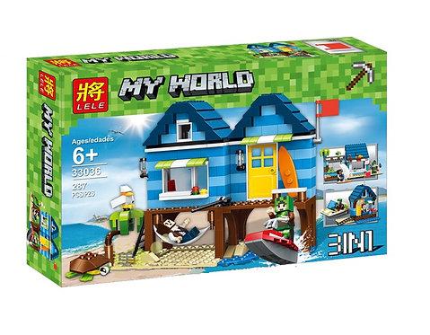 Коробка аналог Lego Minecraft Отпуск у моря 3 в 1   31063   LEGOREPLICA