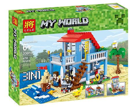 Коробка аналог Lego Minecraft Домик у озера 3 в 1 | LEGOREPLICA