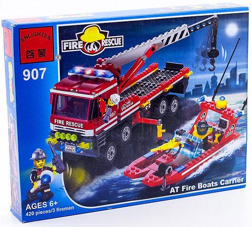 Коробка BRICK Fire Rescue Пожарный катер и грузовик для его перевозки   IQREPLICA