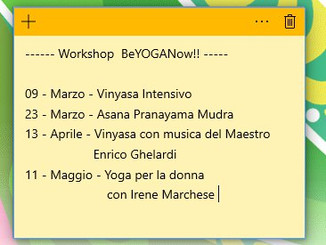 Calendario Workshop Yoga 2019
