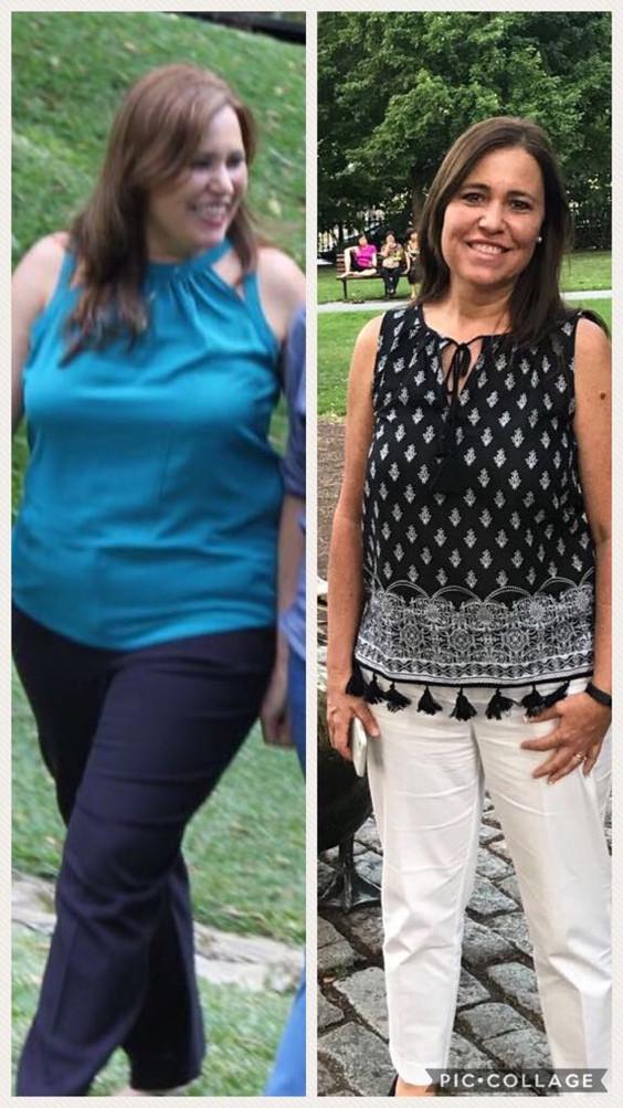 5 meses, 44 libras y 4 tallas menos