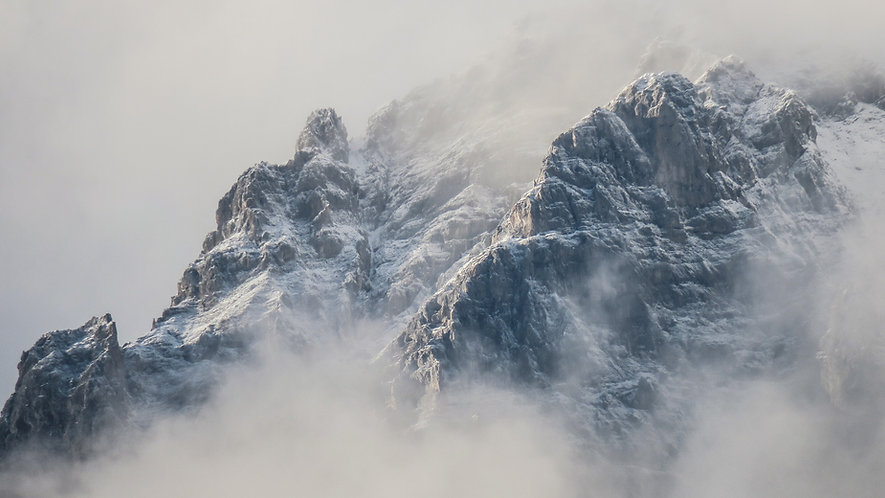 A snowy mountain range