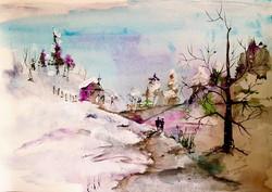 Winter Walk / Watercolor