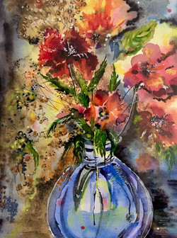 Bouquet of Flowers in The Blue Vase