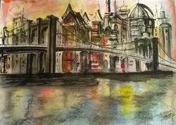 Bridge In Sunset / Pastels