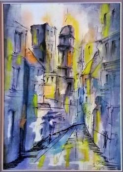 Street In Blue / Ink Watercolor