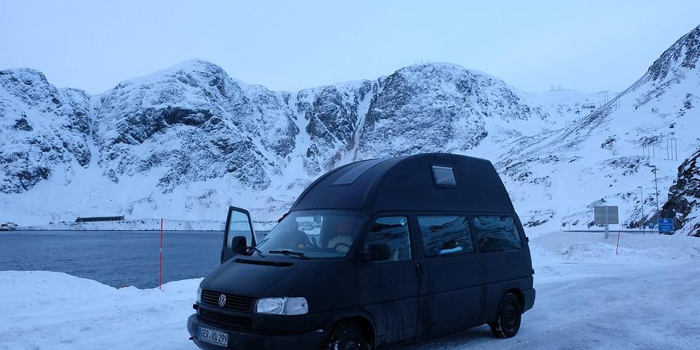 Live Online Multi Media Vortrag - Mit dem Bulli ans Nordkapp! Natürlich im Winter!