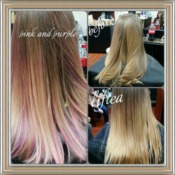 #balayage #blonde #newlook #pink #purple #newstyle #hairstyle #behindthechair #balayagehair #spliten