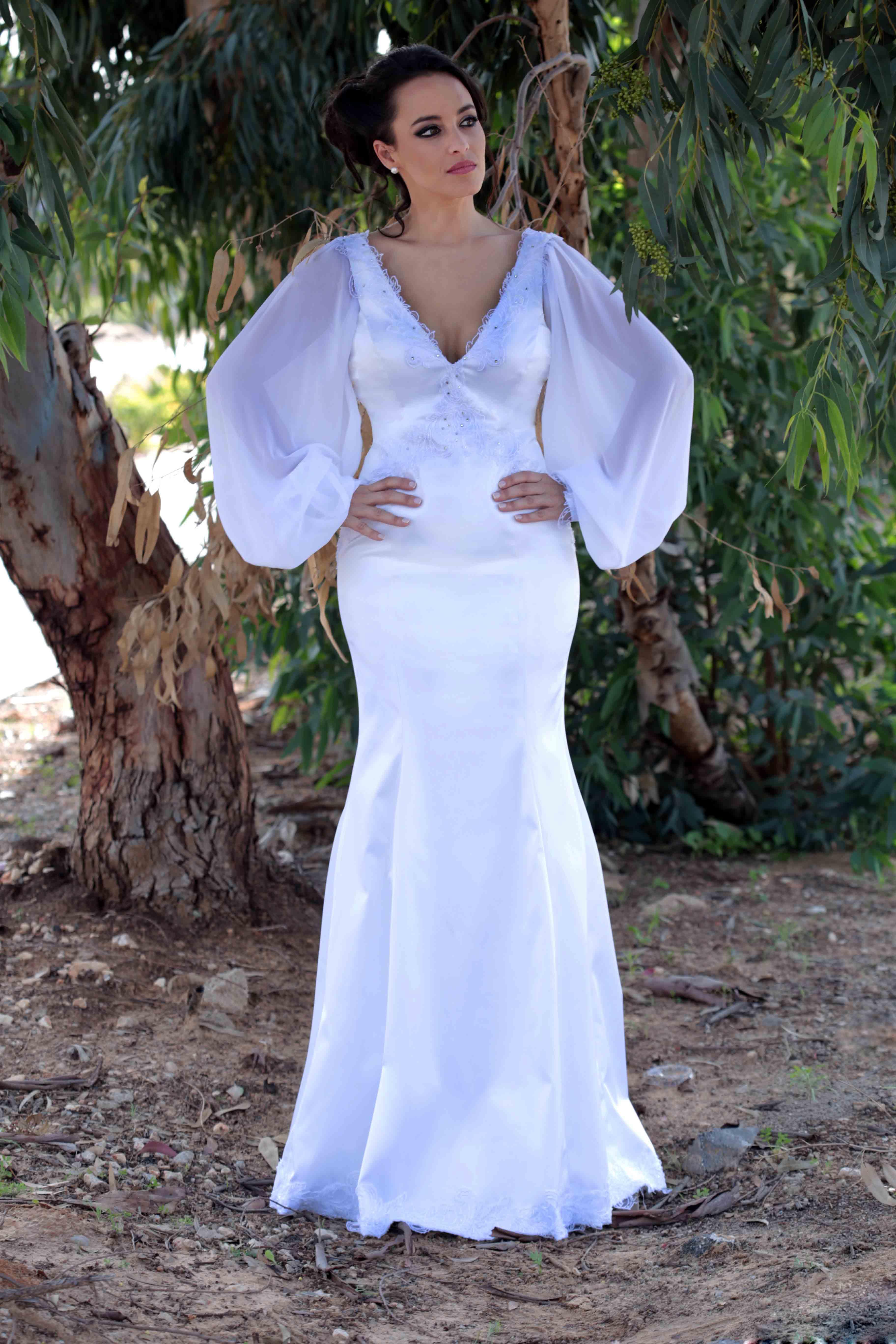 שמלת כלה שרוולי שיפון צנועה