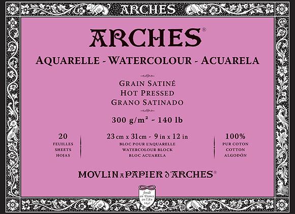 Arches W/C Hot Press 9X12 block 140lb