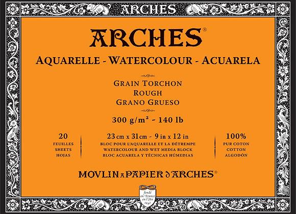 Arches W/C Rough 9X12 block 140lb