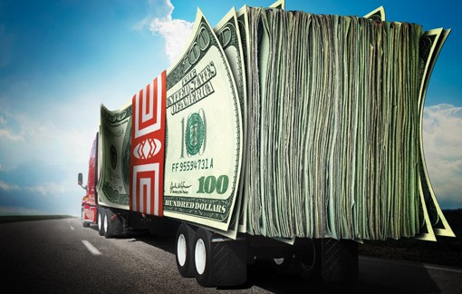 Caminhão de dinheiro câmbio