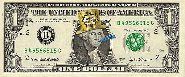 nota de dollar - ano novo