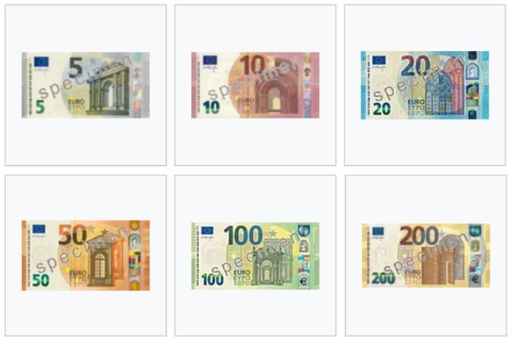 Cédulas de Euro em circulação e emissão
