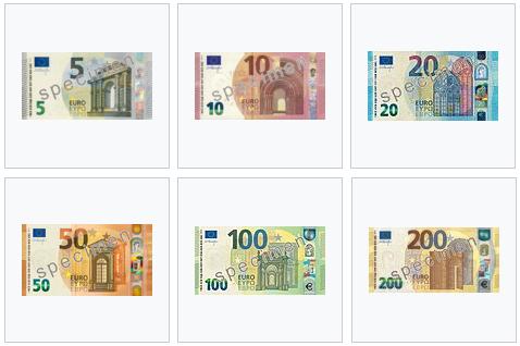 Cédulas de euro em circulação