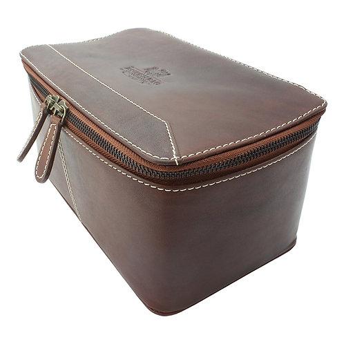 Pull Up Leather Rigid Washbag