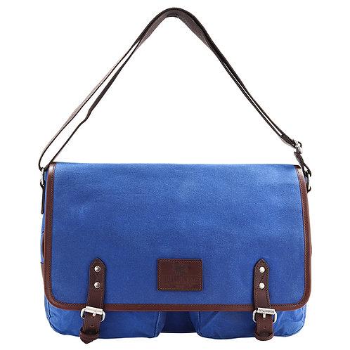 Blue Canvas Messenger Bag