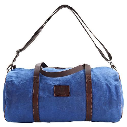 Blue Canvas Barrel Bag