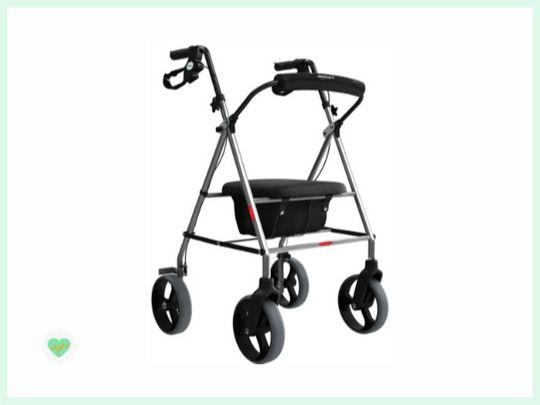 andador para idoso com quatro rodas, assento e quatro rodas