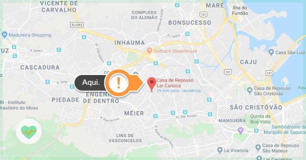 mapa casa de repouso lar carioca