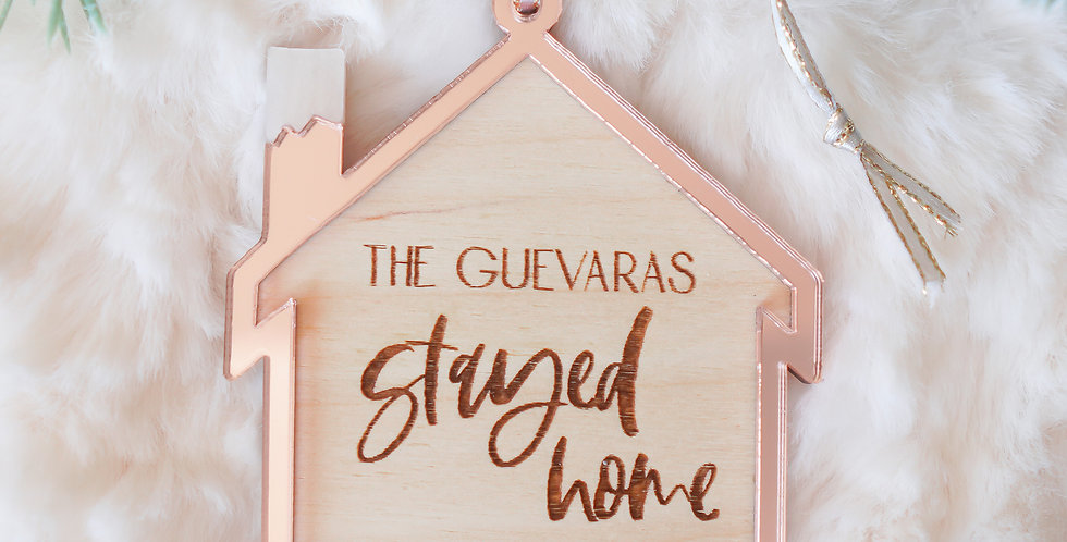 ROSE GOLD + BIRCH STAY HOME 2020 PANDEMIC QUARANTINE PERSONALIZED ORNAMENT