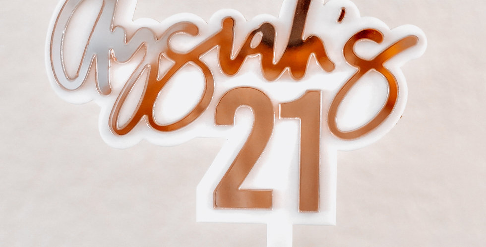 STANDARD (2-TONE) ACRYLIC CAKE TOPPER - from $35