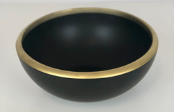 Small Black Bowls with Gold Rim