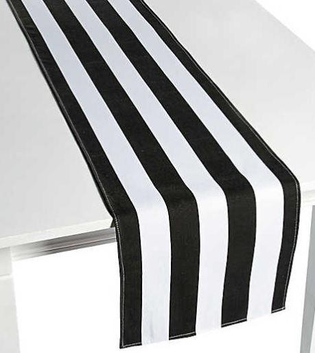 Black White Striped Table Runner