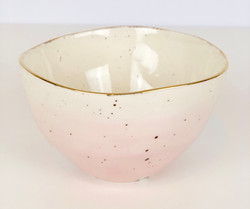 Small Pink Bowls with Gold Rim
