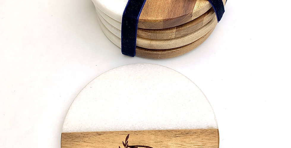 ROUND STONE + WOOD ENGRAVED COASTERS