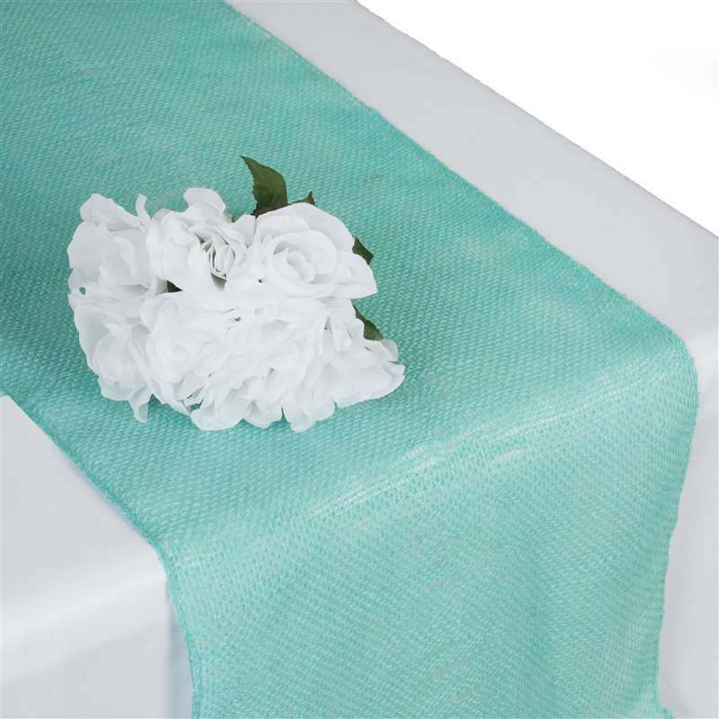 Turquoise Burlap Table Runner
