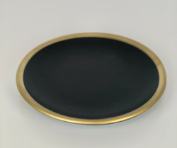 Black Small Plates with Gold Rim