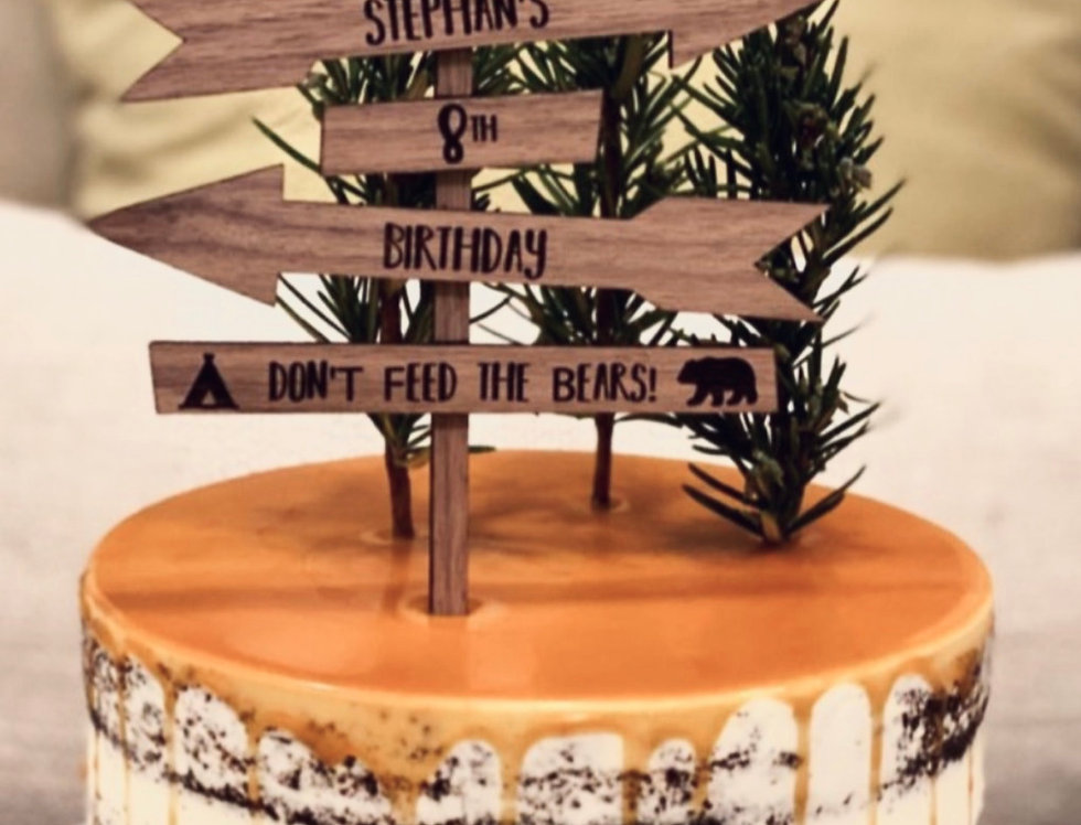 STANDARD (2-TONE) WOOD CAKE TOPPER - from $30