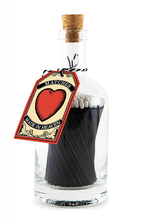 Luxury Glass bottle 'Love Heart' 125 long matches
