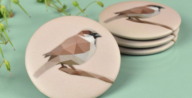 Magnet button Sparrow - Low-poly art.