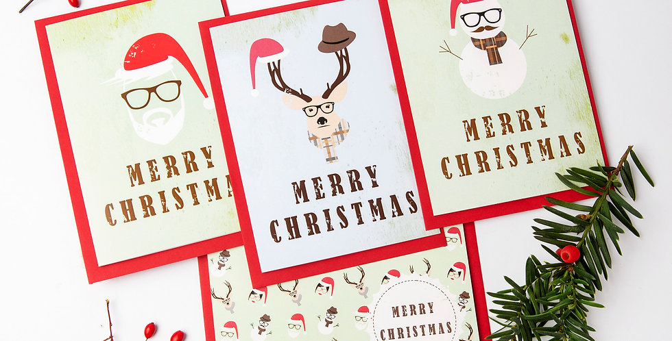 Best Set Of 4 Hipster Christmas Cards