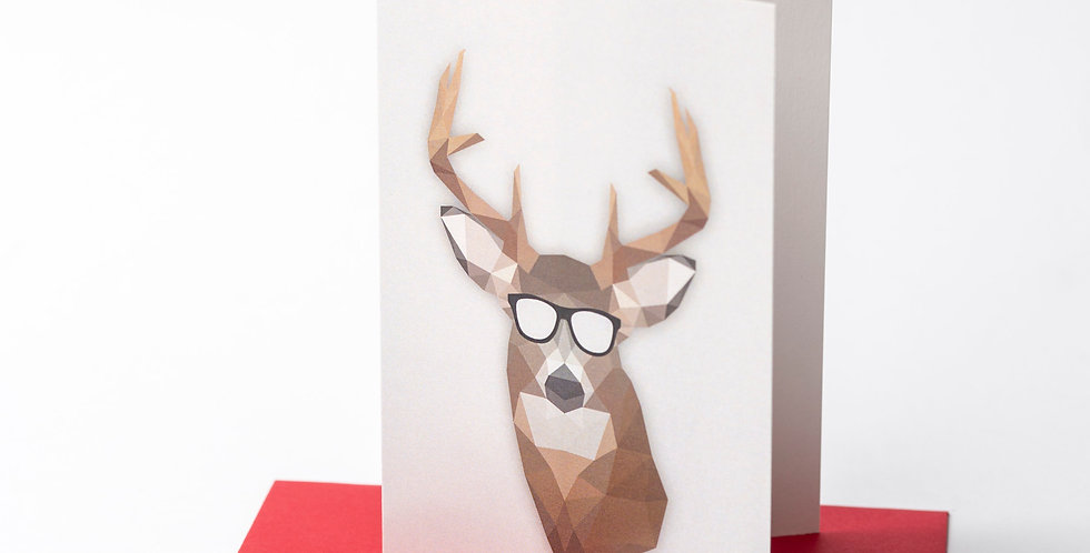 Low-Poly Christmas Deer - Greeting Card +Envelope of your choice.